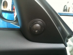 BMW Car Audio Upgrade, Tweeters Installed Cut into door